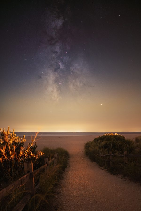 photo of the beach at Cape May, New Jersey, in the early evening with view of dune grass and the milky way in the sky.