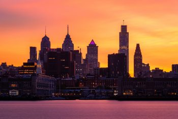 Photograph of the Philadelphia skyline at sunset looking west.